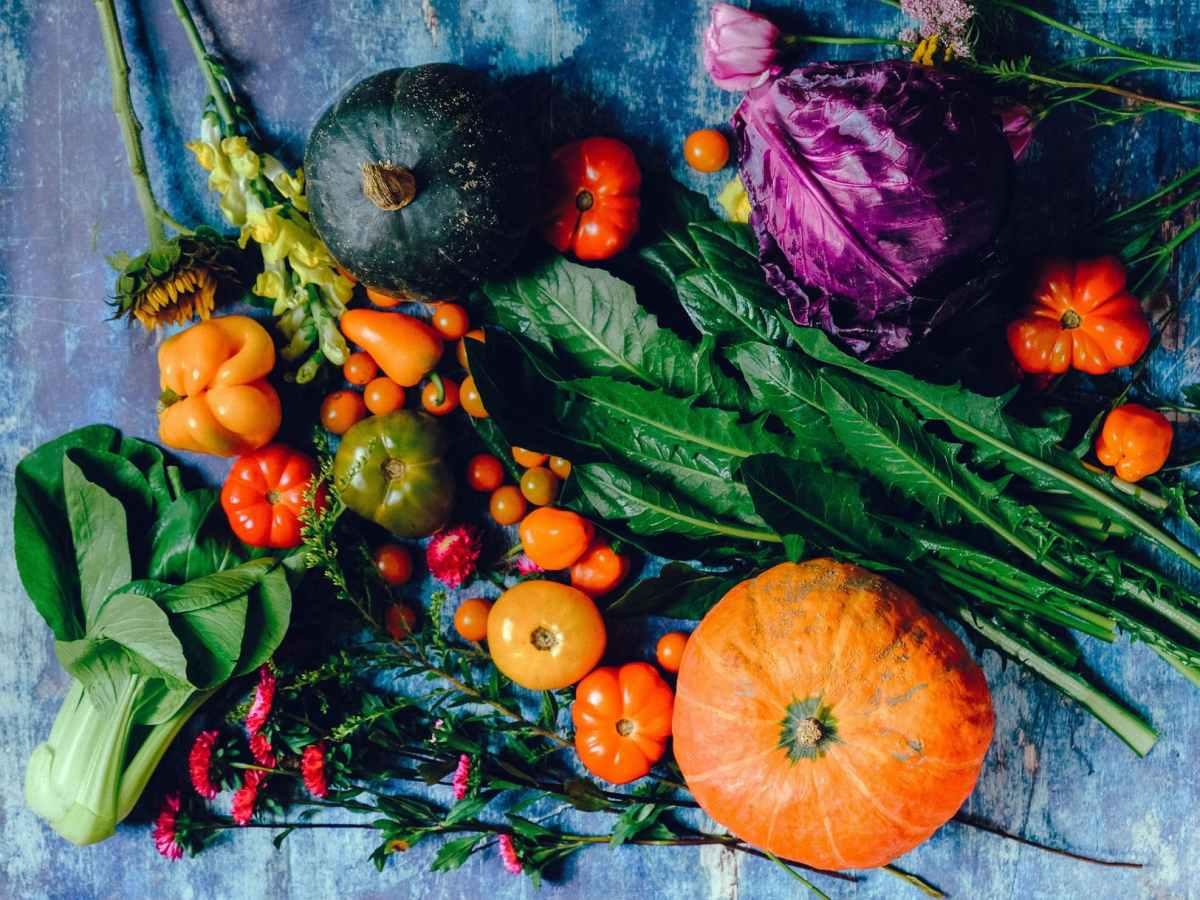 Beau mélange de couleur avec de légumes